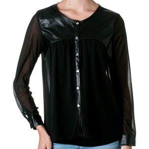 Free Bird Black Leather Shoulder Detail Blouse!